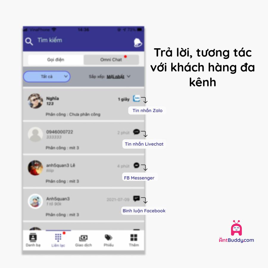 giao diện quản lý tin nhắn của antcrm