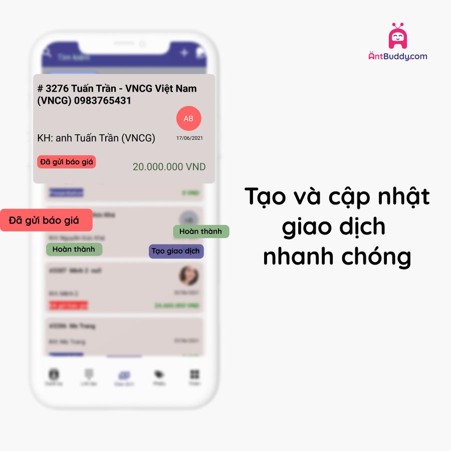 hình ảnh giao diện các thẻ giao dịch trên ứng dụng antcrm